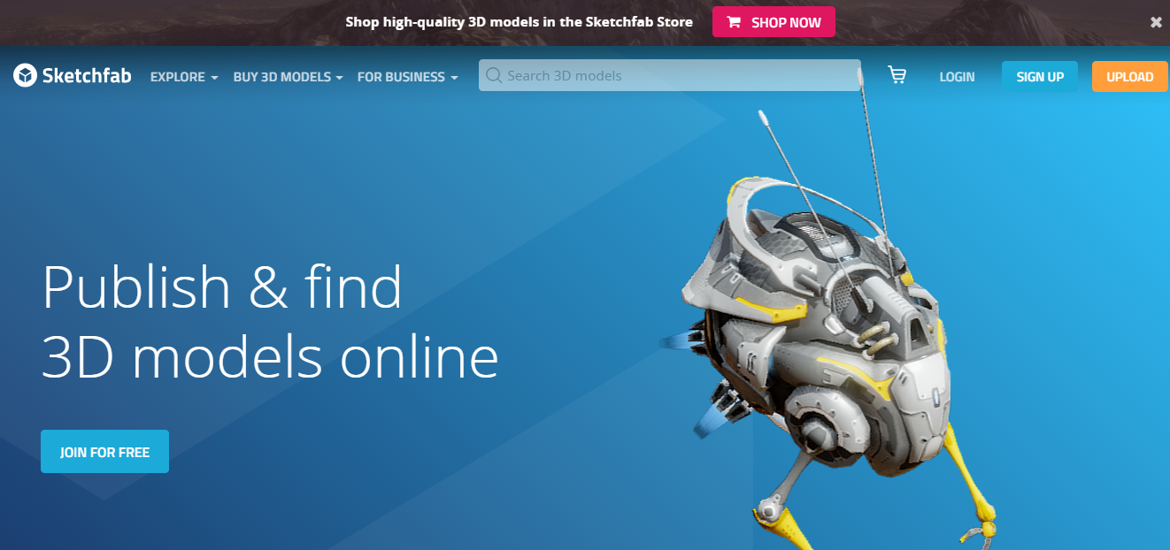 Sketchfab ホームページ画像
