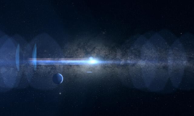 青白く光る星と青い星